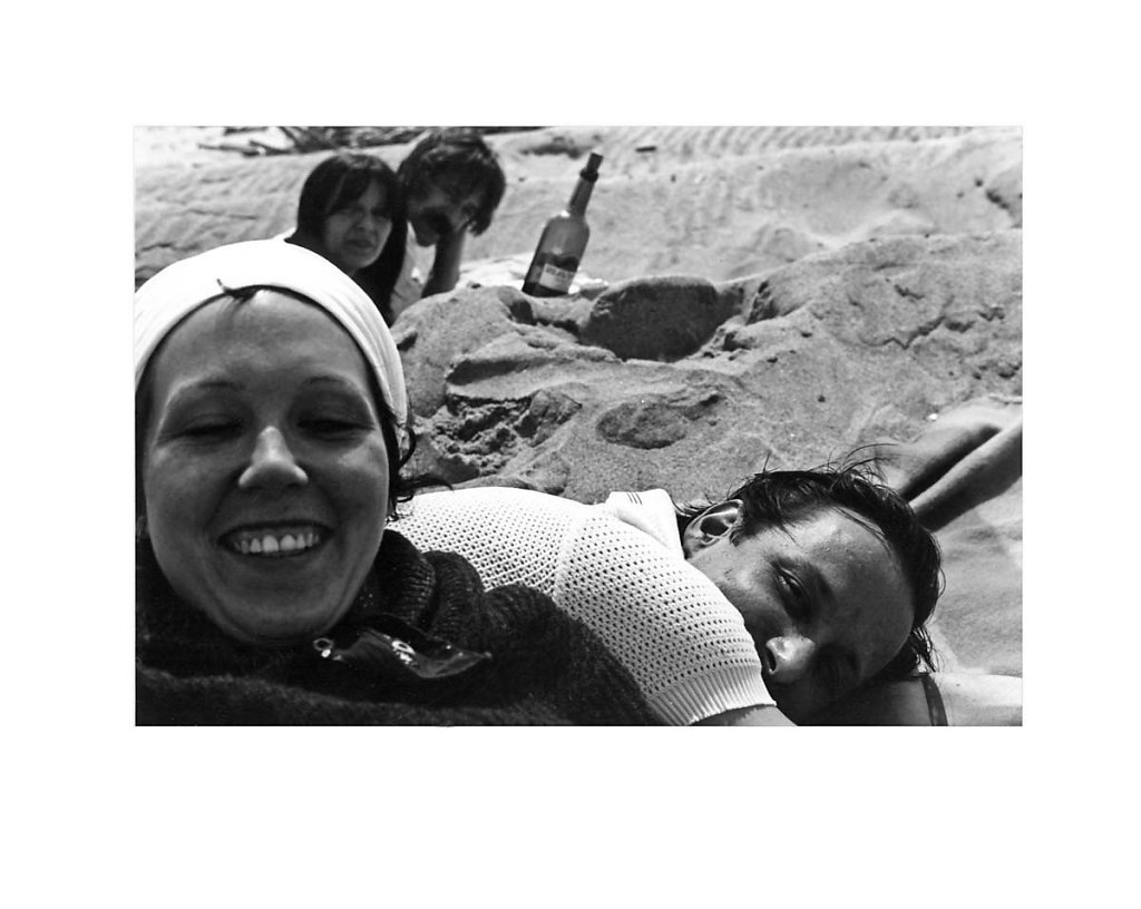 Group Portrait at Jones Beach - foreground: Susan Ensley & Blinky Palermo,  background: Birgit  Reidel & Hans Kung, 1974