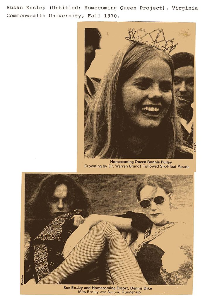 Homecoming Queen Project, Virginia Commonwealth University  in Richmond, VA, 1970, Susan Ensley is elected second runner-up, with escort Dennis Dyke