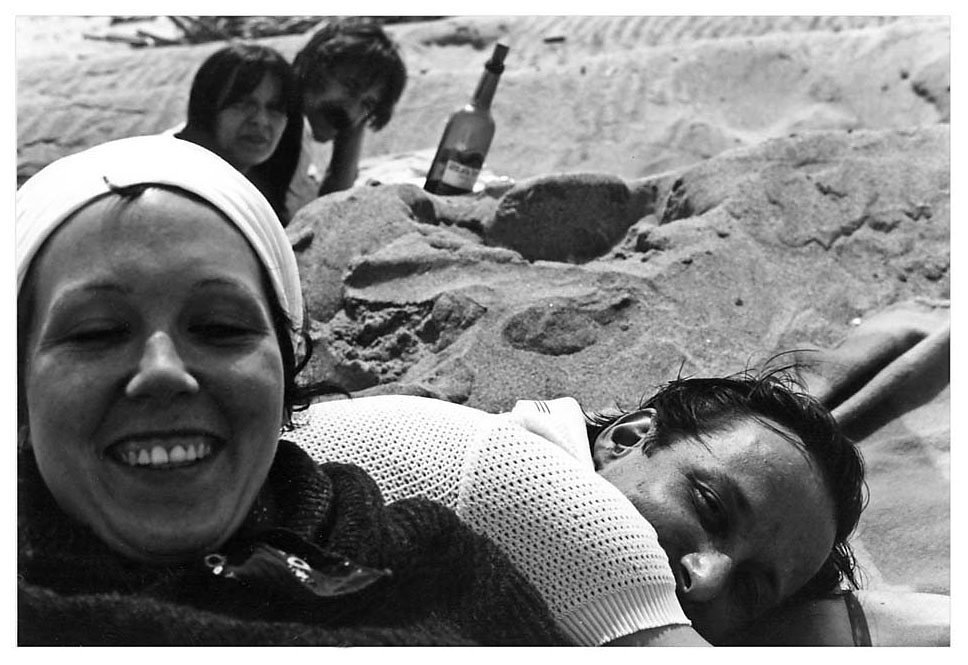 Group Portrait at Jones Beach - foreground: Susan Ensley & Blinky Palermo,  background: Birgit  Reidel & Hans Kung, 1973